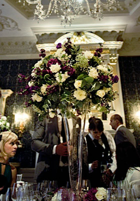 Jen Jakobsen Floral Construction Home page flowers: Claridges wedding reception