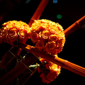 Jens Jakobson Events: orange roses and bamboo