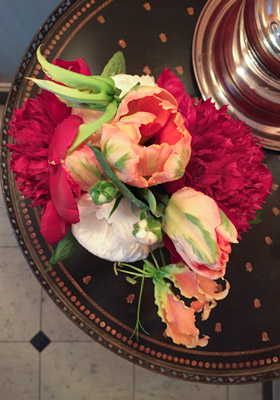 Jen Jakobsen Floral Construction: Home page - special weddings - orange viridiflora tulip, orange nerine, red peony, white tulip