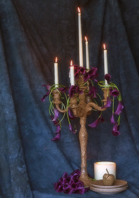 Jen Jakobsen Floral Construction: Home page - candelabra with calla lillies